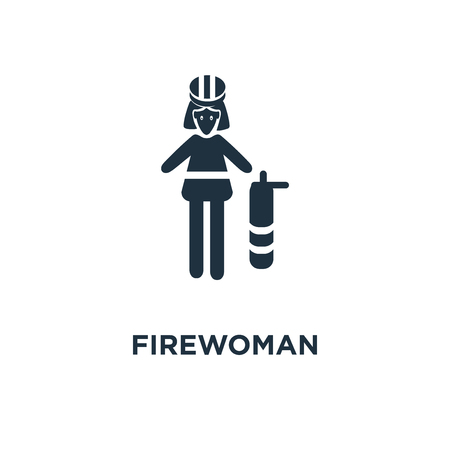 Firewoman icon. Black filled vector illustration. Firewoman symbol on white background. Can be used in web and mobile. Foto de archivo - 112629396