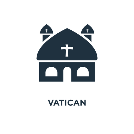 Vatican icon. Black filled vector illustration. Vatican symbol on white background. Can be used in web and mobile. Ilustração