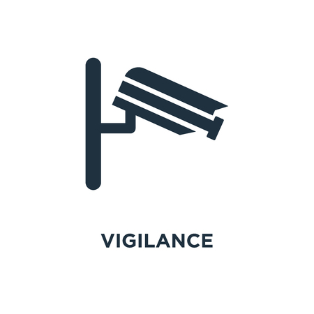 Vigilance icon. Black filled vector illustration. Vigilance symbol on white background. Can be used in web and mobile.