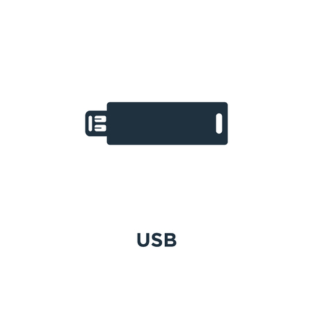 USB icon. Black filled vector illustration. USB symbol on white background. Can be used in web and mobile.