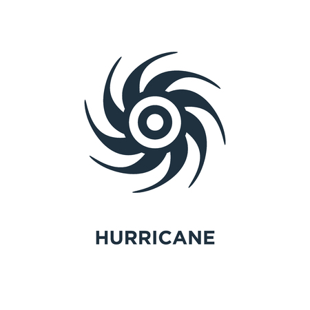 Hurricane icon. Black filled vector illustration. Hurricane symbol on white background. Can be used in web and mobile.