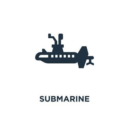 Submarine icon. Black filled vector illustration. Submarine symbol on white background. Can be used in web and mobile.