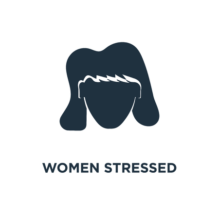 Women Stressed icon. Black filled vector illustration. Women Stressed symbol on white background. Can be used in web and mobile.
