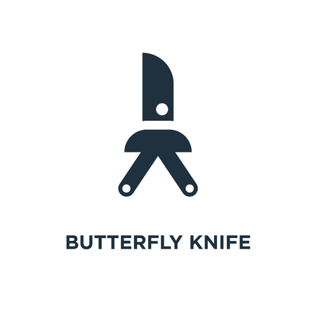 Butterfly knife icon. Black filled vector illustration. Butterfly knife symbol on white background. Can be used in web and mobile.