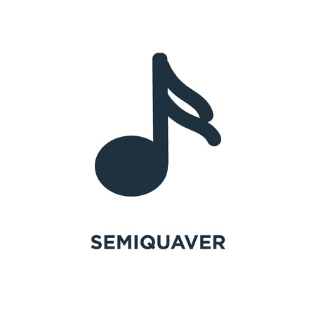 Semiquaver icon. Black filled vector illustration. Semiquaver symbol on white background. Can be used in web and mobile.
