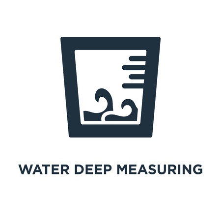 Water Deep Measuring icon. Black filled vector illustration. Water Deep Measuring symbol on white background. Can be used in web and mobile. Vettoriali