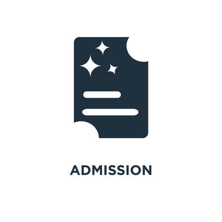 Admission icon. Black filled vector illustration. Admission symbol on white background. Can be used in web and mobile.