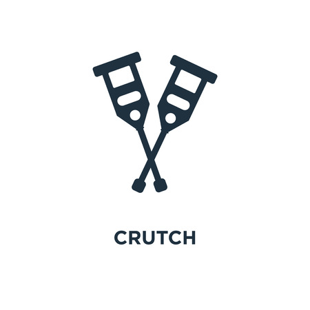 Crutch icon. Black filled vector illustration. Crutch symbol on white background. Can be used in web and mobile.