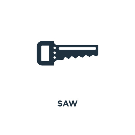 Saw icon. Black filled vector illustration. Saw symbol on white background. Can be used in web and mobile. Ilustração