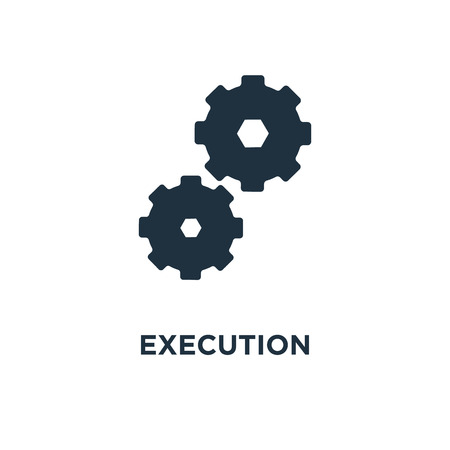 Execution icon. Black filled vector illustration. Execution symbol on white background. Can be used in web and mobile.