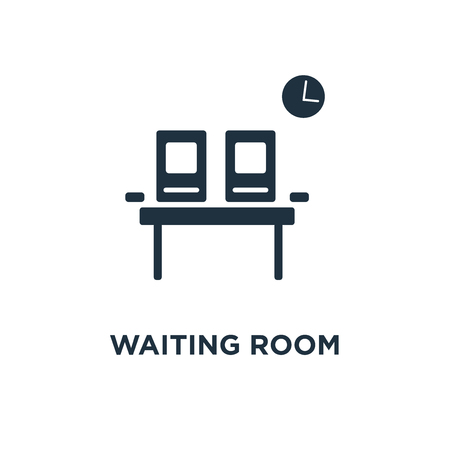 Waiting room icon. Black filled vector illustration. Waiting room symbol on white background. Can be used in web and mobile.
