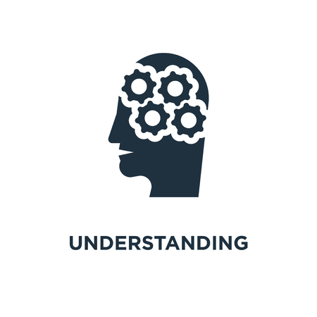 Understanding icon. Black filled vector illustration. Understanding symbol on white background. Can be used in web and mobile. Illustration