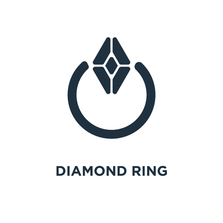 Diamond ring icon. Black filled vector illustration. Diamond ring symbol on white background. Can be used in web and mobile.