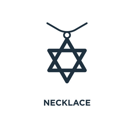 Necklace icon. Black filled vector illustration. Necklace symbol on white background. Can be used in web and mobile. Stok Fotoğraf - 112694529