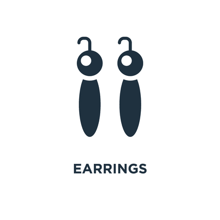 Earrings icon. Black filled vector illustration. Earrings symbol on white background. Can be used in web and mobile.