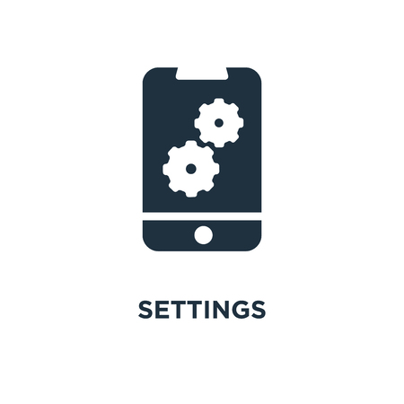 Settings icon. Black filled vector illustration. Settings symbol on white background. Can be used in web and mobile.