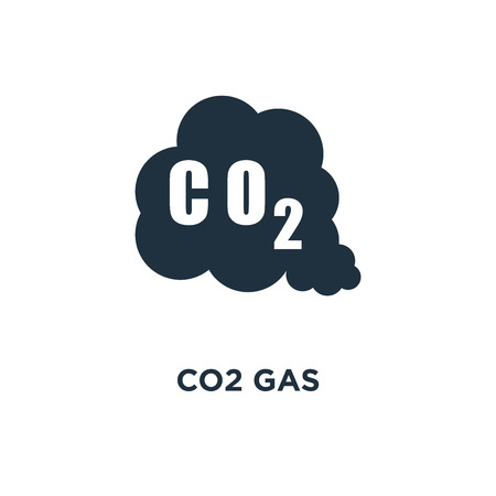 CO2 Gas icon. Black filled vector illustration. CO2 Gas symbol on white background. Can be used in web and mobile.