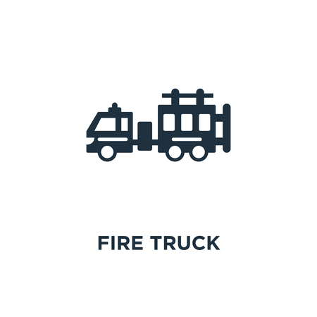 Fire truck icon. Black filled vector illustration. Fire truck symbol on white background. Can be used in web and mobile.