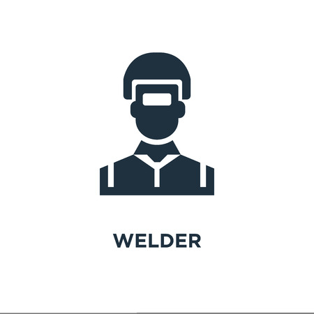 Welder icon. Black filled vector illustration. Welder symbol on white background. Can be used in web and mobile.