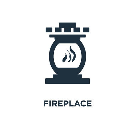Fireplace icon. Black filled vector illustration. Fireplace symbol on white background. Can be used in web and mobile. Illustration