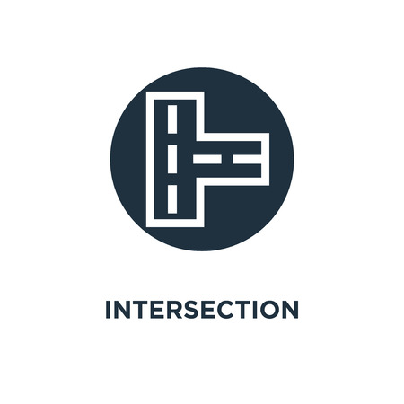 Intersection icon. Black filled vector illustration. Intersection symbol on white background. Can be used in web and mobile.