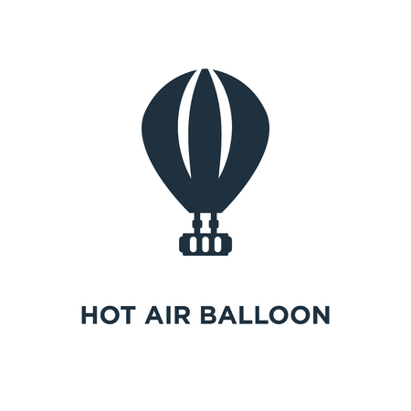 Hot air balloon icon. Black filled vector illustration. Hot air balloon symbol on white background. Can be used in web and mobile. Ilustração