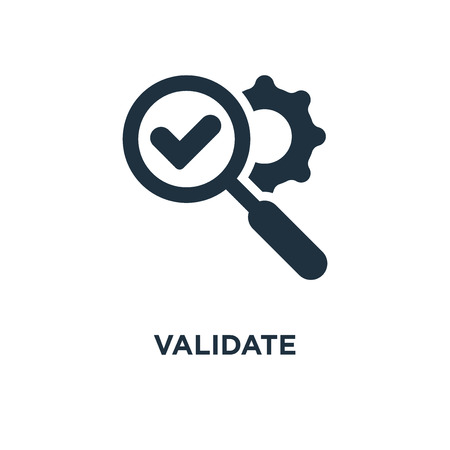 Validate icon. Black filled vector illustration. Validate symbol on white background. Can be used in web and mobile. Ilustração