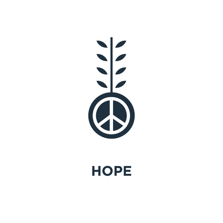 Hope icon. Black filled vector illustration. Hope symbol on white background. Can be used in web and mobile.