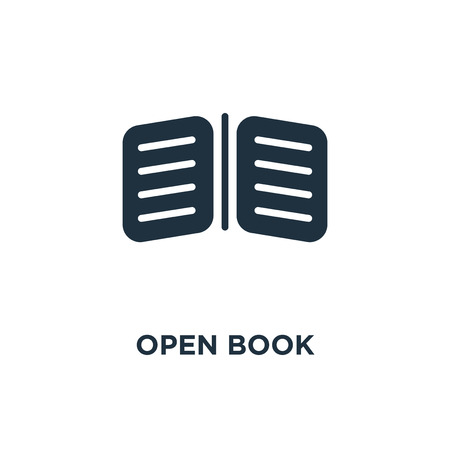 Open Book icon. Black filled vector illustration. Open Book symbol on white background. Can be used in web and mobile.