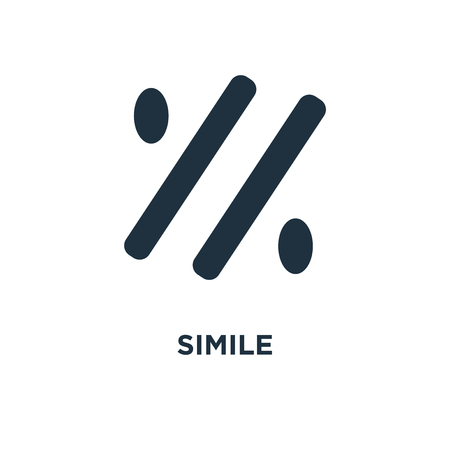 Simile icon. Black filled vector illustration. Simile symbol on white background. Can be used in web and mobile.