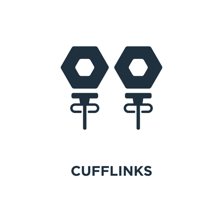 Cufflinks icon. Black filled vector illustration. Cufflinks symbol on white background. Can be used in web and mobile. Vector Illustration