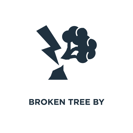 Broken Tree by Thunder icon. Black filled vector illustration. Broken Tree by Thunder symbol on white background. Can be used in web and mobile.