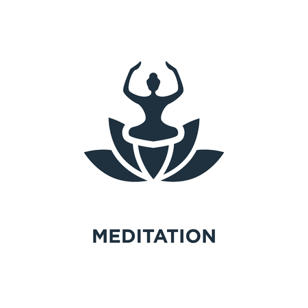 Meditation icon. Black filled vector illustration. Meditation symbol on white background. Can be used in web and mobile.