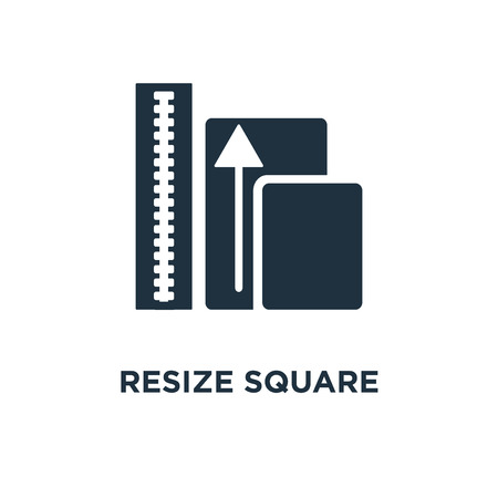 Resize Square icon. Black filled vector illustration. Resize Square symbol on white background. Can be used in web and mobile.