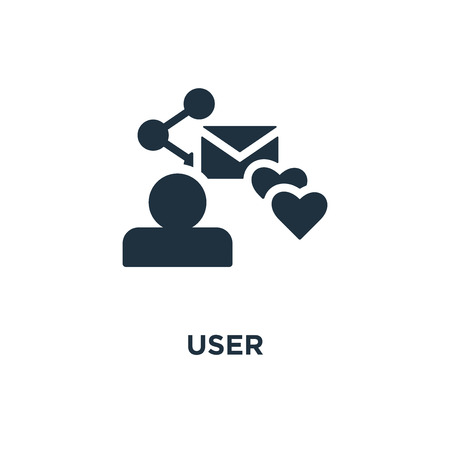 User icon. Black filled vector illustration. User symbol on white background. Can be used in web and mobile.