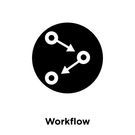 Workflow icon vector isolated on white background, logo concept of Workflow sign on transparent background, filled black symbol Illustration