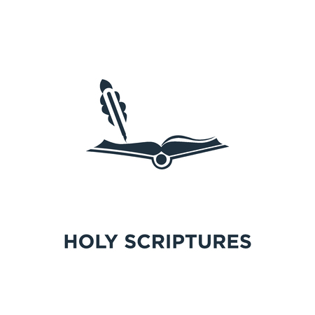 Holy scriptures icon. Black filled vector illustration. Holy scriptures symbol on white background. Can be used in web and mobile.