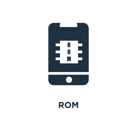 Rom icon. Black filled vector illustration. Rom symbol on white background. Can be used in web and mobile.