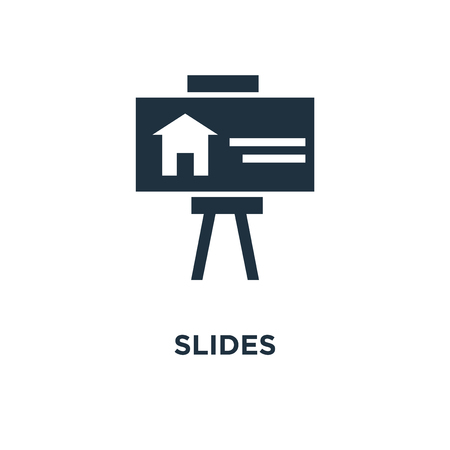 Slides icon. Black filled vector illustration. Slides symbol on white background. Can be used in web and mobile.