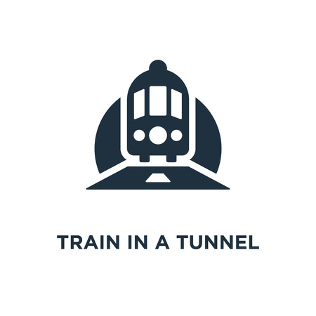 Train in a Tunnel icon. Black filled vector illustration. Train in a Tunnel symbol on white background. Can be used in web and mobile.