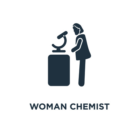 Woman Chemist icon. Black filled vector illustration. Woman Chemist symbol on white background. Can be used in web and mobile. Illustration