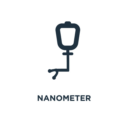 Nanometer icon. Black filled vector illustration. Nanometer symbol on white background. Can be used in web and mobile. 向量圖像