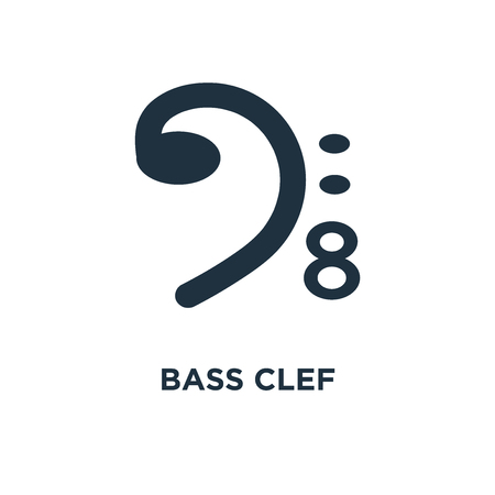 Bass clef icon. Black filled vector illustration. Bass clef symbol on white background. Can be used in web and mobile.