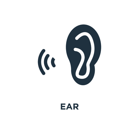 Ear icon. Black filled vector illustration. Ear symbol on white background. Can be used in web and mobile.