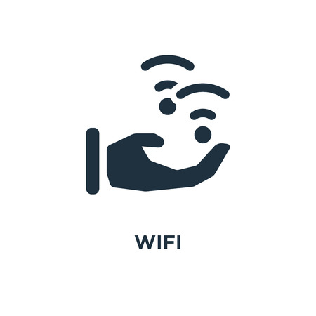 Wifi icon. Black filled vector illustration. Wifi symbol on white background. Can be used in web and mobile. Illustration