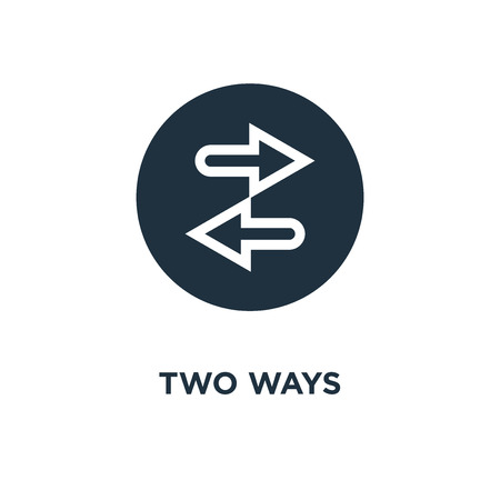 Two ways icon. Black filled vector illustration. Two ways symbol on white background. Can be used in web and mobile.