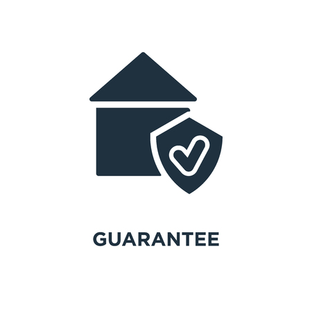Guarantee icon. Black filled vector illustration. Guarantee symbol on white background. Can be used in web and mobile. Illustration
