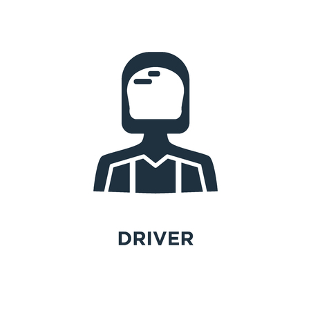 Driver icon. Black filled vector illustration. Driver symbol on white background. Can be used in web and mobile.
