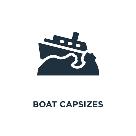 Boat Capsizes icon. Black filled vector illustration. Boat Capsizes symbol on white background. Can be used in web and mobile.