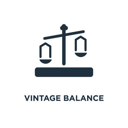 Vintage Balance icon. Black filled vector illustration. Vintage Balance symbol on white background. Can be used in web and mobile.